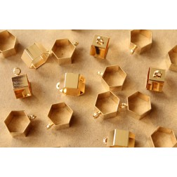 10 pc. Gold Plated Brass Hexagon Tube Bead Charms, 12mm by 8mm | FI-291