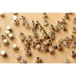 50 pc. Silver (Darker) Plated Brass Rounded Corner Cube Spacer Beads, 4mm by 4mm | FI-303