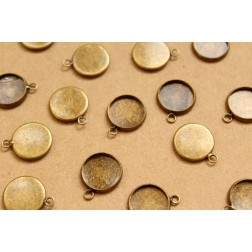 20 pc. Antique Bronze Round Cabochon Setting Pendant 12mm | FI-310