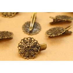 10 pc. Antique Bronze Mini Alligator Pins with Filigree Pad, 32mm long | FI-317