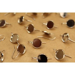 10 pc. 12mm Earring Hook Blank Cabochon Setting Silver, Nickel Free - FI-318