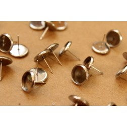 12 pc. Stainless Steel 10mm Ear Post Blank Cabochon Setting | FI-333