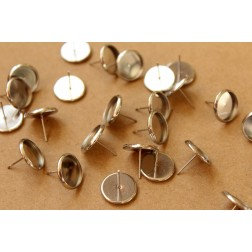 12 pc. Stainless Steel 12mm Ear Post Blank Cabochon Setting | FI-334