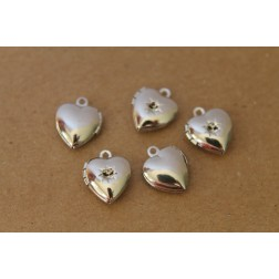 3 pc. Silver Heart Lockets with Rhinestone Setting 11mm | LOC-015