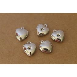 3 pc. Silver Heart Lockets with Rhinestone Setting 11mm   LOC-015