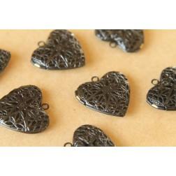 2 pc. Black Enameled Filigree Heart Lockets | LOC-027
