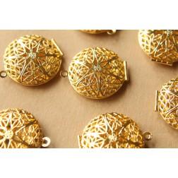 2 pc. Gold Plated Filigree Lockets - 27mm diameter | LOC-028