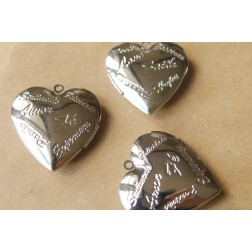 SALE - 2 pc. Large Silver Heart Lockets with Written Words | LOC-048