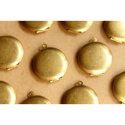3 pc. Raw Brass Round Lockets 25mm x 28mm | LOC-050