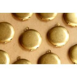 3 pc. Raw Brass Round Lockets 25mm x 28mm   LOC-050