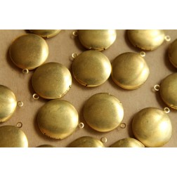 4 pc. Small Raw Brass Round Lockets 20mm | LOC-051