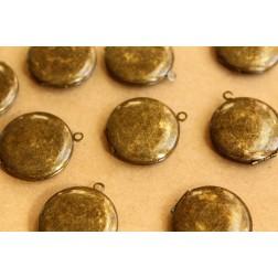 3 pc. Dark Antiqued Brass Round Lockets 25mm x 28mm   LOC-052