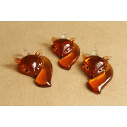 1 pc. Brown Glass Fox Lampwork Pendant | MIS-018