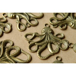 4 pc. Antique Bronze Octopus Pendants, 57mm x 55mm | MIS-050