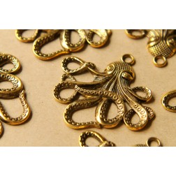 4 pc. Antique Gold Octopus Pendants, 57mm x 55mm | MIS-052