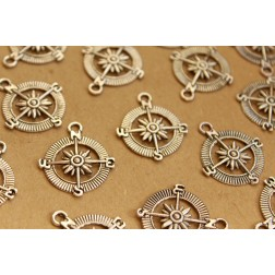 15 pc. Tibetan Style Compass Charms Pendants Silver | MIS-064