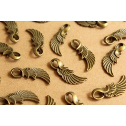 10 pc. Antique Bronze Angel Wing Pendants, 32mm x 11mm | MIS-077
