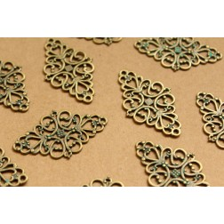 10 pc. Verdigris Diamond-Shaped Filigree Connectors, 41mm by 24mm - made in USA | MIS-094