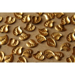 10 pc. Tiny Raw Brass Curved Leaves: 6.5mm by 6mm - made in USA | RB-063