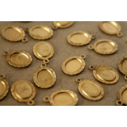 8 pc. Raw Brass Oval Cabochon Setting: 14 mm by 10mm - made in USA | RB-102
