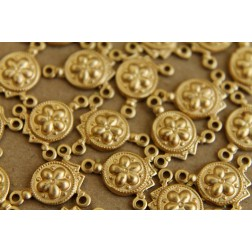 8 pc. Raw Brass Three Hole Connector, Flower: 13mm by 14mm - made in USA | RB-106