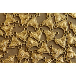 8 pc. Raw Brass Three Hole Connector, Three Petals : 10.5mm by 11.5mm - made in USA | RB-108