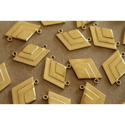 2 pc. Raw Brass Geometric Layered Diamond Charms: 25mm by 17mm - made in USA | RB-116