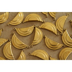6 pc. Raw Brass Geometric Layered Half Circle Charms: 27mm by 10mm - made in USA | RB-120