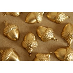 3 pc. Jumbo Raw Brass Acorns: 33mm by 22mm - made in USA | RB-126