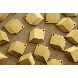 6 pc. Raw Brass Geometric Faceted Hexagon Charms : 22mm by 16mm - made in USA - RB-134