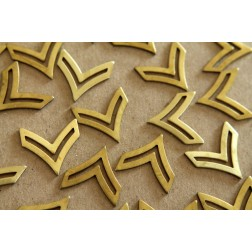 4 pc. Raw Brass Single Chevron Charm: 21mm by 21mm - made in USA | RB-135