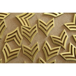 4 pc. Raw Brass Double Chevron Charm: 25mm by 21mm - made in USA | RB-138