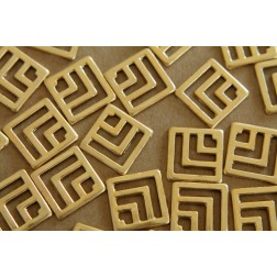 8 pc. Raw Brass Geometric Chevron Square Stampings : 16mm by 16mm - made in USA | RB-141