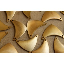 10 pc. Raw Brass Rounded Chevron Charms: 24mm by 13mm - made in USA | RB-163