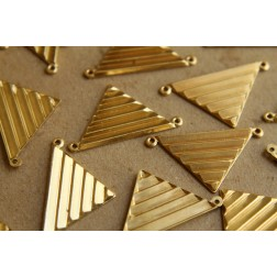 2 pc. Raw Brass Beveled Triangle Charms: 30mm by 17mm - made in USA | RB-166