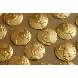8 pc. Raw Brass Globes - Western Hemisphere: 18mm diameter - made in USA - RB-175
