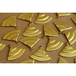 10 pc. Raw Brass Layered Quarter Circle Charms: 18mm by 15mm - made in USA | RB-176