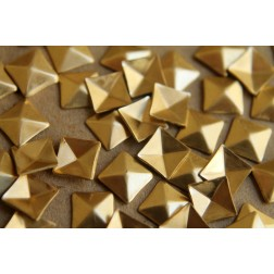 8 pc. Tiny Raw Brass Faceted Square Stampings : 7mm - made in USA | RB-183
