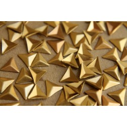 8 pc. Tiny Raw Brass Faceted Triangle Stampings : 8.5mm - made in USA | RB-184