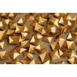 8 pc. Tiny Raw Brass Faceted Diamond Stampings : 8.5mm by 7.5mm - made in USA | RB-186