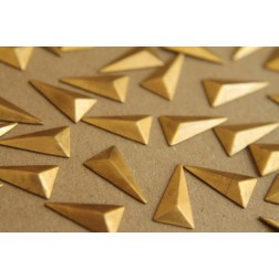 16 pc. Small Raw Brass Faceted Isosceles Triangle Stampings : 15mm by 8.5mm - made in USA | RB-194