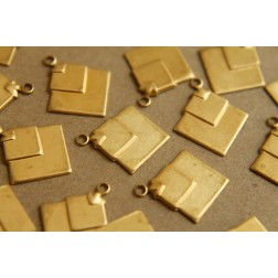 10 pc. Raw Brass Layered Diamond Square Charms: 18mm by 15mm - made in USA | RB-195