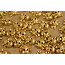 20 pc. Tiny Raw Brass Skulls: 5.5mm by 8mm - made in USA | RB-206