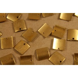 16 pc. Small Raw Brass Curved Square Tags: 9.5mm by 9.5mm - made in USA | RB-209