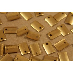 16 pc. Small Raw Brass Curved Rectangle Tags: 9.5mm by 6.5mm - made in USA | RB-210