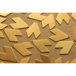 8 pc. Raw Brass Chevron Flag: 29mm by 21mm - made in USA | RB-219