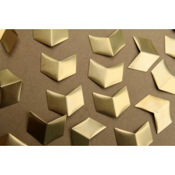 6 pc. Large Raw Brass Creased Chevron Stamping : 25mm by 30mm - made in USA | RB-353