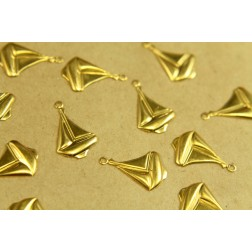 18 pc. Raw Brass Medium Sailboat Stampings: 12mm by 19mm - Made in USA | RB-372