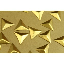 6 pc. Medium Raw Brass Faceted Triangle Stampings : 17mm - made in USA | RB-375