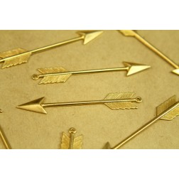 4 pc. Long Raw Brass Arrow Charms: 62mm by 10mm - made in USA | RB-389